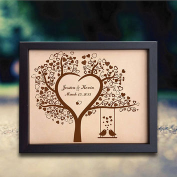 Lik151 Leather Engraved Wedding 3rd anniversary heart tree Birds name date personalized gift