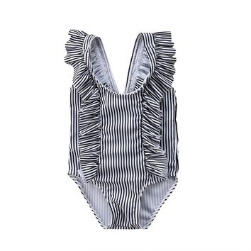 Cute Newborn Baby Girls Striped Sleeveless O Neck Swimwear Swimsuit Bikini Bathing Suit One-Piece