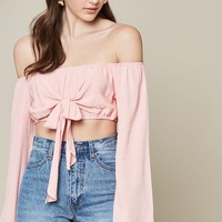 LA Hearts Knotted Front Off-The-Shoulder Top at PacSun.com