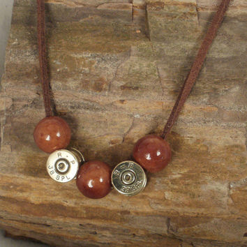 Bullet Casing Necklace  Coffee Ceramic Beads  38 by ShellsNStuff