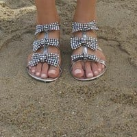 Bow  with clear and pearl gem sandals from Chockers Shoes