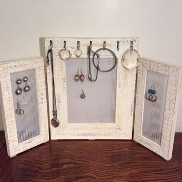 Earring organizer, Triple Jewelry frame, Earring display, earring stand, Rustic timber frame, stud earring holder, free standing jewellery