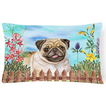 Fawn Pug Spring Canvas Fabric Decorative Pillow CK1280PW1216
