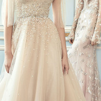 A-Line Embroidered Gown With Bow Detail | Moda Operandi
