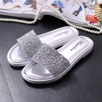 Women Slides Bling Shoes Casual Sandals Slippers Sequins Beach Leather