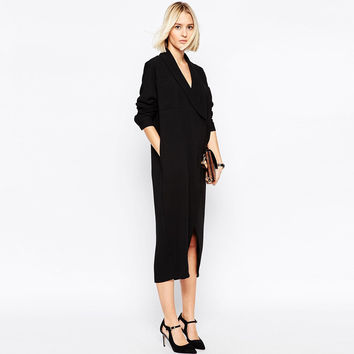 Black Notched Long-Sleeve Midi Coat