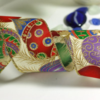 Christmas Ribbon: Off-White Wire Edged Ribbon with Gold Glitter Accents- Red, Purple, and Green with gold edge - 3 yards - 2 1/2 inch wide