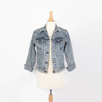 Vintage 80s JEAN JACKET / 1980s Acid Wash Denim Jacket S