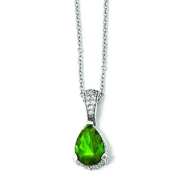 Cheryl M SS Rose-cut Pear Glass Simulated Emerald & CZ Necklace QCM371