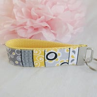 Ready To Ship Yellow Gray White Black Key Fob Wristlet Key Chain Fabric Key Chain