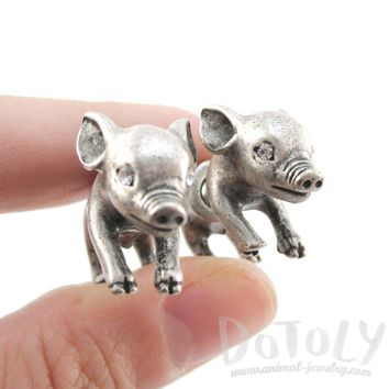 Fake Gauge Earrings: 3D Piglet Pig Shaped Front and Back Two Part Earrings in Silver
