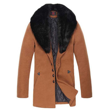 Slim Fit Men's Fashion Wool Coat with Fur Collar SOS