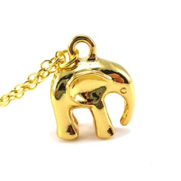 3D Standing Elephant Shaped Pendant Necklace in Gold | DOTOLY