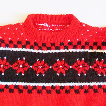 Women's Vintage 70's Hand Knit Red Fair Isle Holiday Ski Sweater Sz M