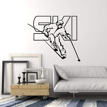 Vinyl Wall Decal Skier Ski Lettering Skiing Winter Sport Art Decor Stickers Mural (ig5323)