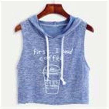Blue And Red Women Sexy Coffee Print Hooded Crop Sleeveless T-Shirt Tops Free Shipping