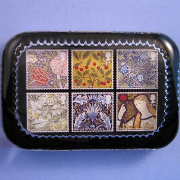 William Morris Postage Stamp Collage Heirloom Rectangle Glass Paperweight Arts and Crafts Home Decor