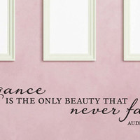 """Wall Vinyl Quote - """"Elegance is the only beauty that never fades"""" - Audrey Hepburn (48"""" x 11"""")"""