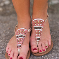 Natalie Beaded Sandals (Gold)