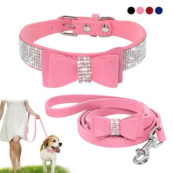 Soft Seude Leather Rhinestone Bowknot Collar with matching Leash