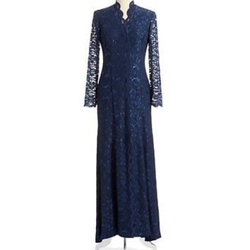 Alex Evenings Sequin and Lace Gown
