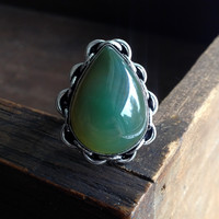 Green Agate Teardrop Ring - Sterling Silver over Copper - Size 7.5