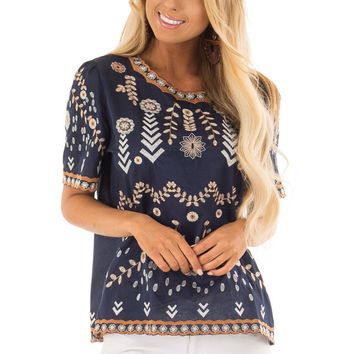 Navy Blouse with Floral Embroidered Details