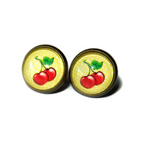 Red and Yellow Post Earrings Brass Plated Cabochon Earrings, Stud Earrings
