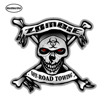 HotMeiNi Car Accessories  Zombie Off Road Towing Skull Bone Decals Bio Hazard Funny 3D Car Sticker Waterproof Bumper 13x12cm