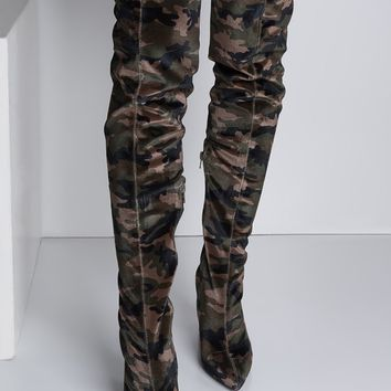 Over The Knee Velvet Pointed Toe Chunky Heel Camo Boots in Khaki