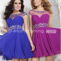 US $129.99 2014 Homecoming Dresses With Cap Sleeves A Line Scoop Neckline Chiffon Beadings&Sequins