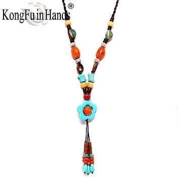 New Bohemia Vintage long pendant Necklace Ethnic jewelry Beads Sweater chain exaggerated accessory Friendship gift free shipping