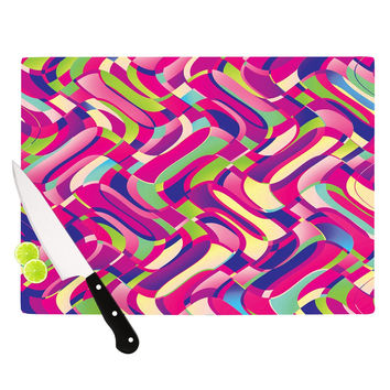 "Dawid Roc ""Colorful Movement"" Pink Abstract Cutting Board"