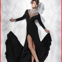 YZ Black Long Sleeve Crystal Beaded Chiffon High Neck Watteau Train Gowns