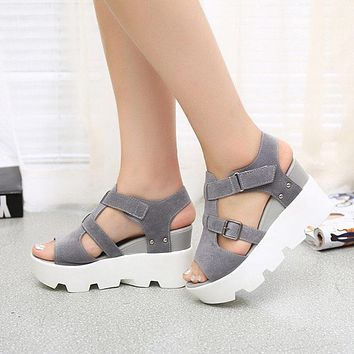 Womens Sandals Shoes High Heel Casual Open Toe Platform Gladiator Wedges