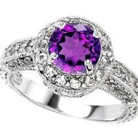 Star K 7mm Round Simulated Amethyst Ring