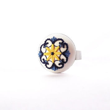 Portuguese Tile Inspired Ring, Azulejo, Polymer Clay, Adjustable Ring, Unique Jewelry, Blue and White, Tiny Details