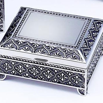 "Square Antique Silver Finish 3"" Jewelry Box"