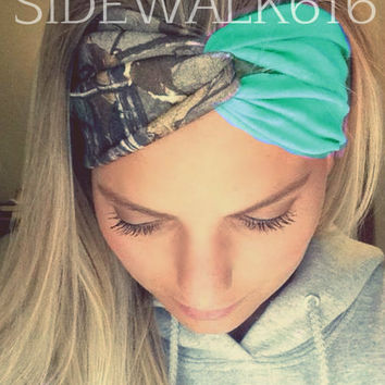 Camo and Mint Headband Turban Style Headband Hunting Headband