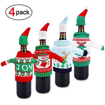 Ugly Sweater Christmas Party KitKonsait Knitted Christmas Wine Bottle CoverampToppers for Beer Water Bottles Ornament for Xmas Christmas Party Favors Supplies Table Decoration Decor Holiday Gift4pack