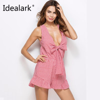Idealark Sexy ruffle plaid jumpsuit romper Women deep v neck backless overalls Causal hollow out summer beach playsuit WC0610