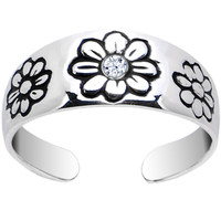 Sterling Silver 925 CZ Daisy Toe Ring | Body Candy Body Jewelry