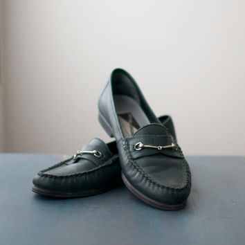 Vintage Dark Green Penny Loafers by Mootsies Tootsies - size 7
