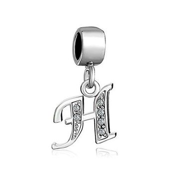 Alphabet Beads AZ Letter Initial Spacer Dangle Clear Synthetic Crystal Silver P Charm