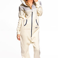 Crystal Jumpsuit Cream White with Navy - Womens