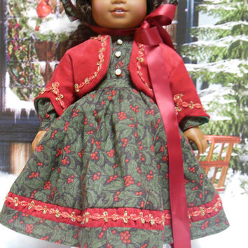 "American girl historical doll clothes (18 inch) ""Holly Berries"" 1800s holiday Civil War Ensemble Christmas jacket, bonnet, pantaloons, dress"
