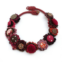 Fiber art necklace, statement eco friendly jewelry, crochet with fabric buttons and ceramic bead, burgundy brown, OOAK