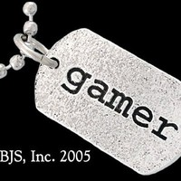 Sterling Silver Gamer Geek Tagtrade; Charm Necklace