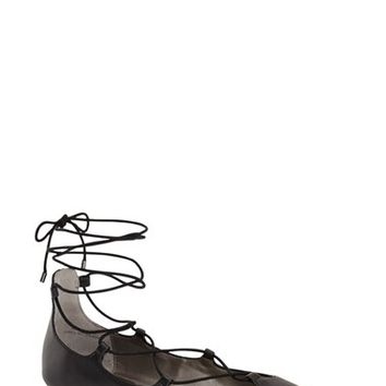 BP. 'Katrina' Pointy Toe Lace Up Flat (Women) | Nordstrom