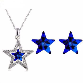 Beach women Gold over Austrian Crystal Five Pointed Star Pendant Necklace